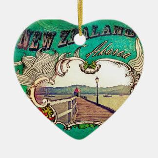 Historic wharf in Akaroa, New Zealand Double-Sided Heart Ceramic Christmas Ornament