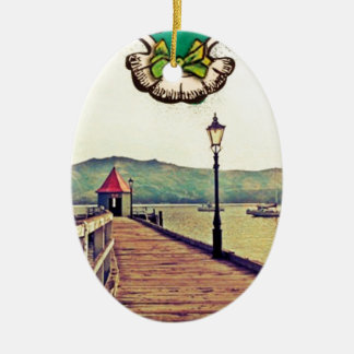 historic wharf in Akaroa Double-Sided Oval Ceramic Christmas Ornament