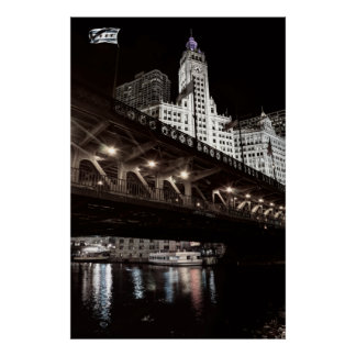 HISTORIC WRIGLEY Building and DuSable Bridge Poster