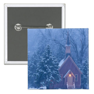 Historic Yosemite Valley Chapel during heavy Pinback Button