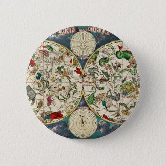 Historic Zodiac Map, 1670 Pinback Button