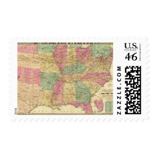 Historical and Military Map of the US Postage