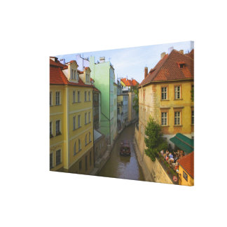 Historical buildings with canal, Prague, Czech Stretched Canvas Print