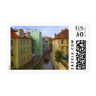 Historical buildings with canal, Prague, Czech Postage