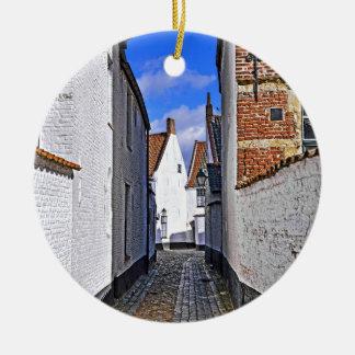 historical center of Courtrai, Belgium Ceramic Ornament
