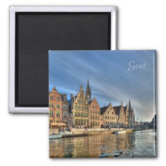 Historical center of Gent, Belgium 2 Inch Square Magnet