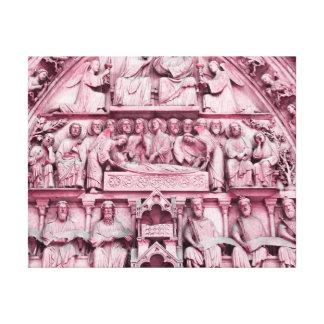 Historical, Christian sculptures Notre Dame Paris Canvas Print