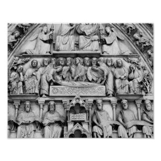 Historical, Christian Sculptures Notre Dame Paris Poster