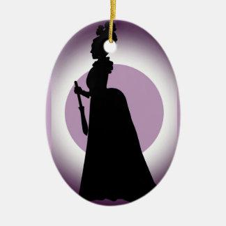 Historical Day Dress Pom Hat Oval Ornament