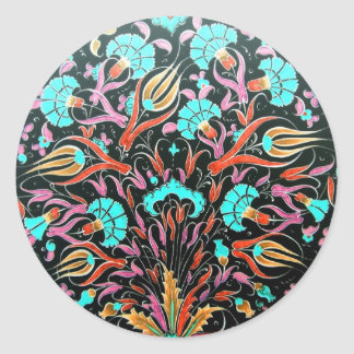Historical Dianthus and Tulip Pattern - Tile Art Classic Round Sticker