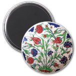 Historical Dianthus and Tulip Pattern - Tile Art Refrigerator Magnets