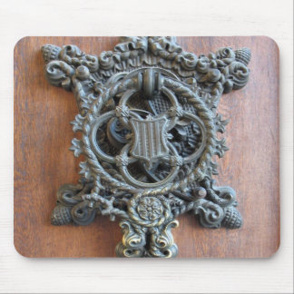 Historical Door Knocker On The Gate To Hluboka Cas Mouse Pad