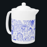 "Historical Feminist Pioneers Blue Toile Teapot<br><div class=""desc"">My hand drawn toile pattern in royal blue over a white background features portraits of 8 different women from around the world, all fighters for equality for women. The women portrayed include Sojourner Truth, Elizabeth Cady Stanton, Susan B. Anthony, Victoria Woodhull, Harriet Tubman and more. Various emblems like ""Vote for...</div>"