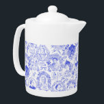 """Historical Feminist Pioneers Blue Toile Teapot<br><div class=""""desc"""">My hand drawn toile pattern in royal blue over a white background features portraits of 8 different women from around the world, all fighters for equality for women. The women portrayed include Sojourner Truth, Elizabeth Cady Stanton, Susan B. Anthony, Victoria Woodhull, Harriet Tubman and more. Various emblems like """"Vote for...</div>"""