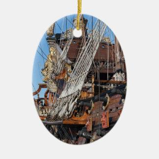 historical galleon ceramic ornament