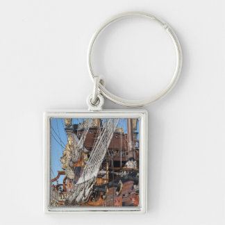 historical galleon Silver-Colored square keychain