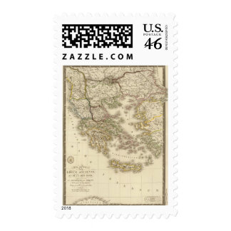 Historical Greece Paris atlas map Postage Stamps