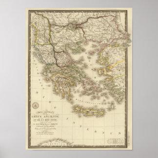 Historical Greece, Paris atlas map Poster