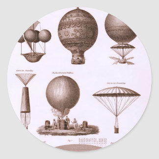Historical Hot Air Balloon Designs Classic Round Sticker