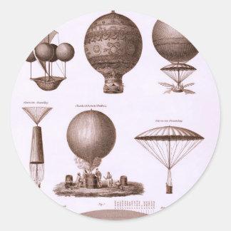 Historical Hot Air Balloon Designs Classic Round Sticker
