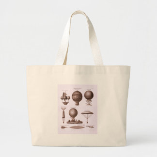Historical Hot Air Balloon Designs Vintage Image Large Tote Bag