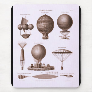 Historical Hot Air Balloon Designs Vintage Image Mouse Pad