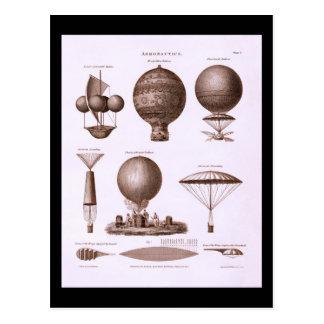 Historical Hot Air Balloon Designs Vintage Image Postcard