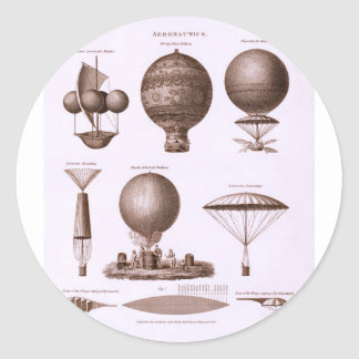 Historical Hot Air Balloon Designs Vintage Image Classic Round Sticker