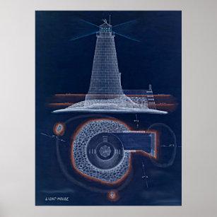 Lighthouse drawing art framed artwork zazzle historical lighthouse blueprint drawing poster malvernweather Images