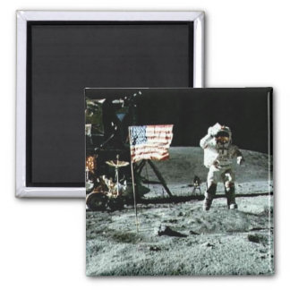 Historical man on the moon 2 inch square magnet