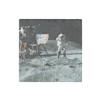 Historical man on the moon stone magnet