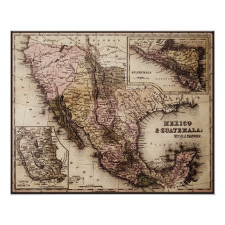 Historical Map Mexico and Guatemala Canvas Print