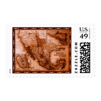 Historical Map Mexico and Guatemala Stamps
