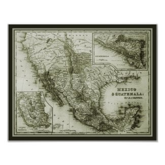 Historical Map Mexico and Guatemala poster/print