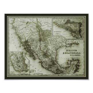 Historical Map Mexico and Guatemala poster/print Poster
