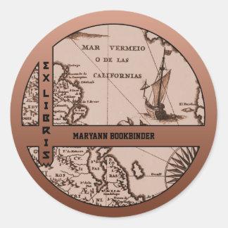 Historical Map Mexico California 1702 bookplate Classic Round Sticker