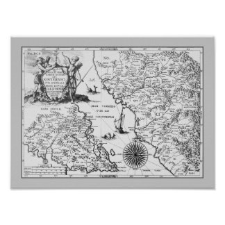 Historical Map Mexico California 1702 poster/print Poster