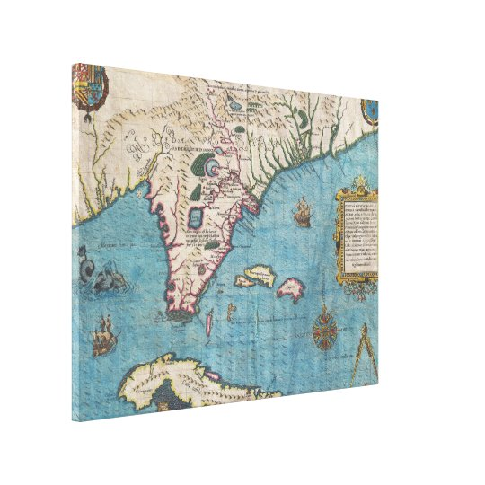 Historical Map of Florida (1591) Canvas Print