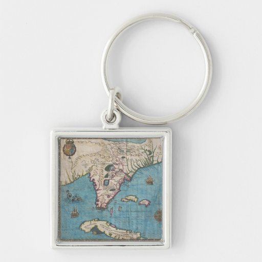 Historical Map of Florida (1591) Key Chain