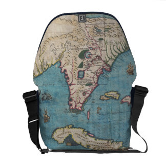 Historical Map of Florida (1591) Courier Bags