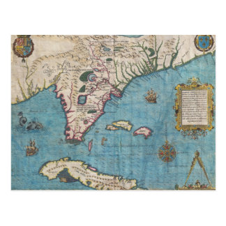 Historical Map of Florida (1591) Post Card