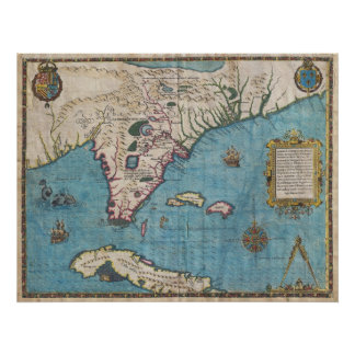 Historical Map of Florida (1591) Print
