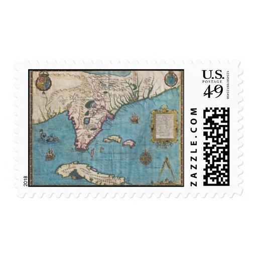 Historical Map of Florida (1591) Stamp