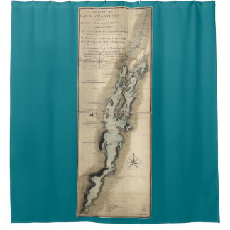 Historical Map of Lake Champlain Vermont Shower Curtain