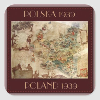 HISTORICAL MAP OF POLAND 1939 SQUARE STICKER