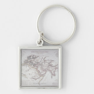 Historical Map of the Known World Silver-Colored Square Keychain