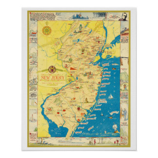 Historical map of the state of New Jersey Poster