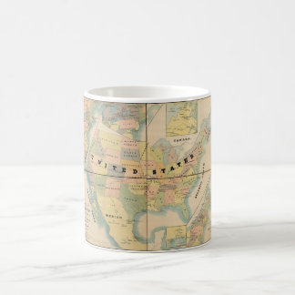 Historical Military Map of the United States 1890 Coffee Mug