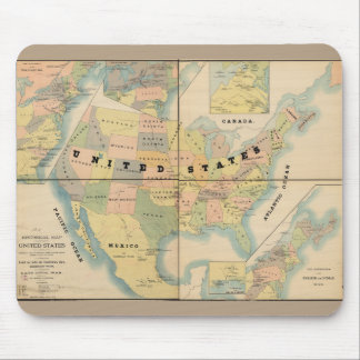 Historical Military Map of the United States 1890 Mouse Pad