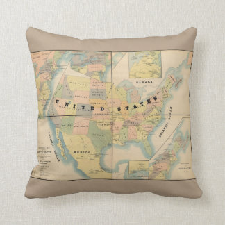 Historical Military Map of the United States 1890 Pillow